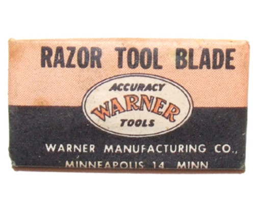 Old Warner Manufacturing Co. Razor Tool Knife Blade in Wrapper No. 108 Single Edge