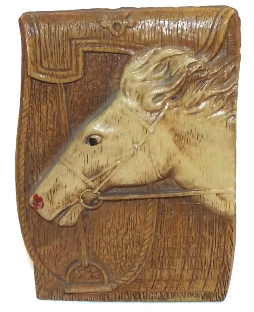 Vintage Syroco Wood Type Match Holder Safe with Embossed Horse Head