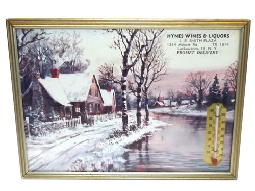 Vintage Hynes Wines & Liquors Advertising Thermometer & Winter Print - Lackawanna, NY