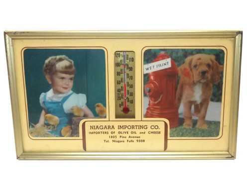 Vintage Niagara Importing Co. Advertising Thermometer & Puppy Print - Niagara Falls, NY