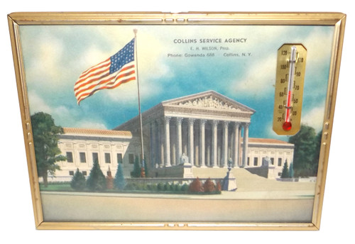 Vintage 1943 Collins Service Agency Advertising Thermometer & Calendar - Collins, NY