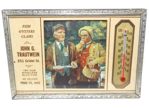Vintage John G. Trautwein Seafood Advertising Thermometer - Buffalo, NY
