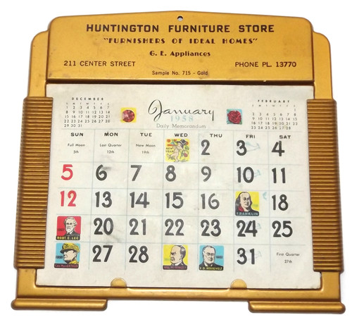 Vintage Tin 1958 G.E. Appliances Advertising Calendar Salesman's Sample