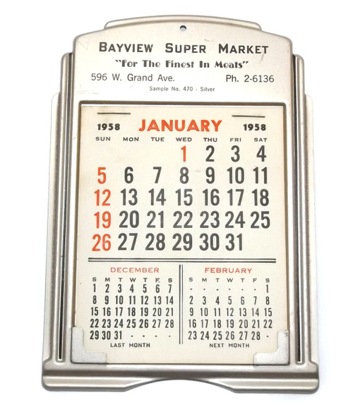 Vintage Unused Tin 1958 Advertising Calendar Salesman's Sample