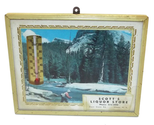 Vintage Scott's Liquor Store Fishing Theme Advertising Thermometer - Olean, NY