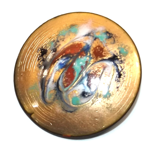 Vintage Mid-Century Round Swirled Enameled Copper Abstract Brooch Pin