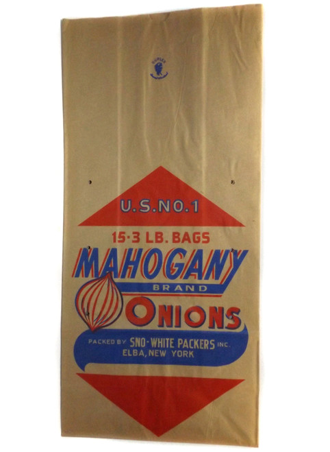 Vintage Brown Paper Mahogany Brand Onions Advertising Bag Sno-White Packers, Elba, NY