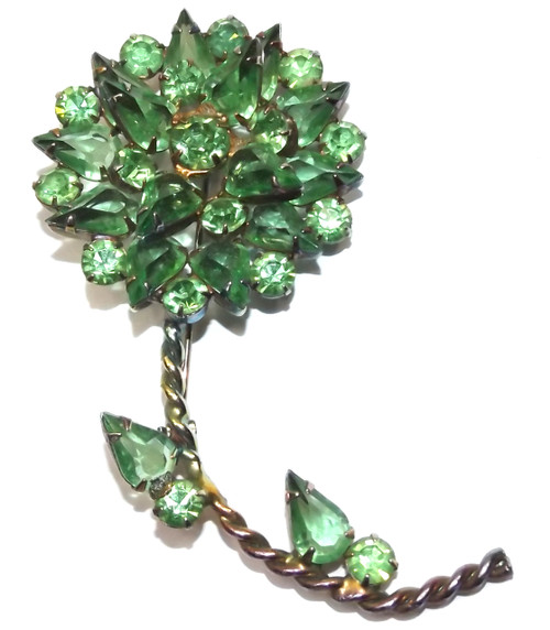 Large Vintage D&E Juliana Flower Brooch with Cut Green Stones & Iridescent Gold Tone Pin