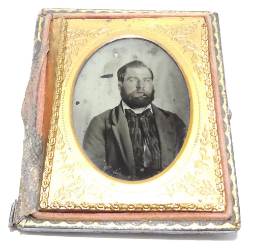 Antique 1/9 Plate Ambrotype Photograph of Young Bearded Victorian Man in Suit