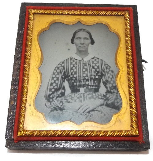 Antique 1/9 Plate Ambrotype Photograph Stern Woman in Patterned Dress