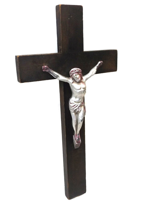 Vintage Wooden Wall Mount Crucifix with Silver Tone Die Cast Jesus Figure