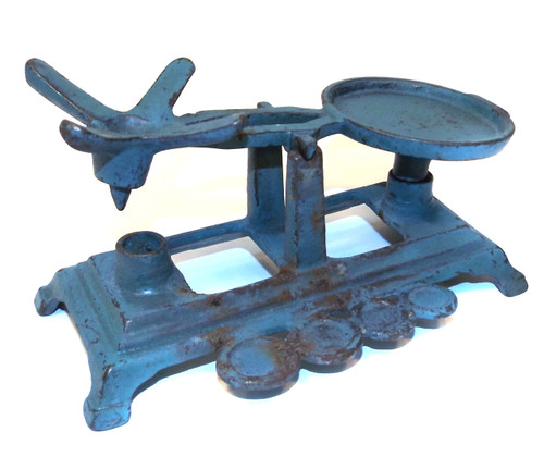 Antique Cast Iron Balance Scale with Blue Paint & Weight Holders