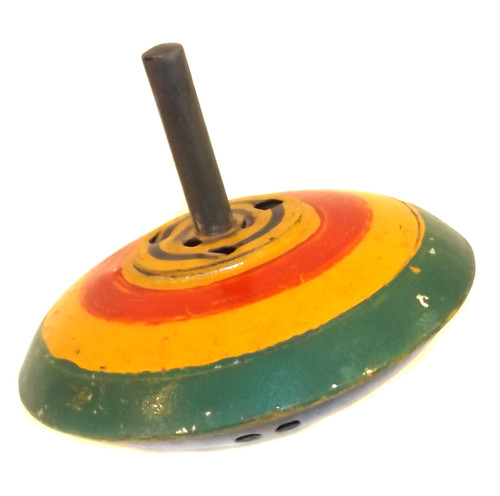 Vintage Tin Spinning Top Toy with Hand-Painted Decoration