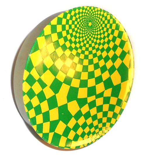 Vintage Green & Yellow Swirled Checkerboard Lithographed Tin Party Noise Maker Toy