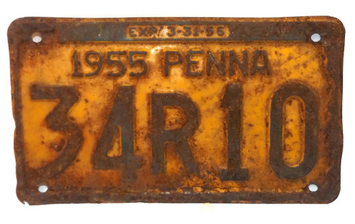 1955 Vintage Pennsylvania State License Plate  - Tag #34R10