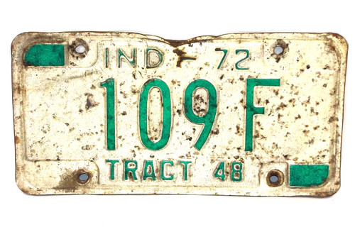 1972 Indiana State Tract 48 License Plate - Tag #109F