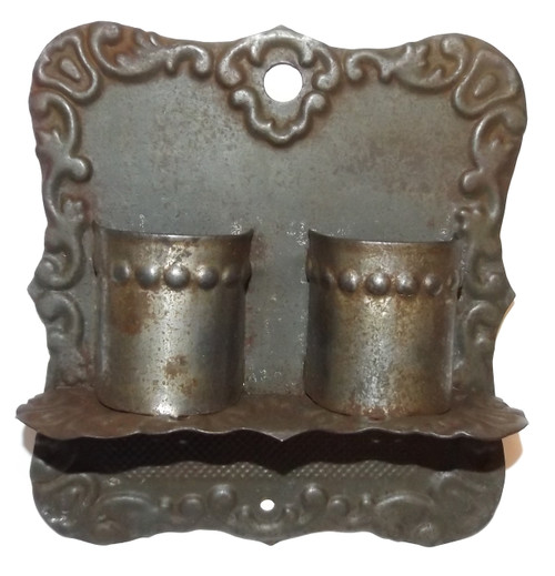 Antique Victorian Pressed Tin Wall Mount Double Wall Pocket Match Holder Safe w/ Striker