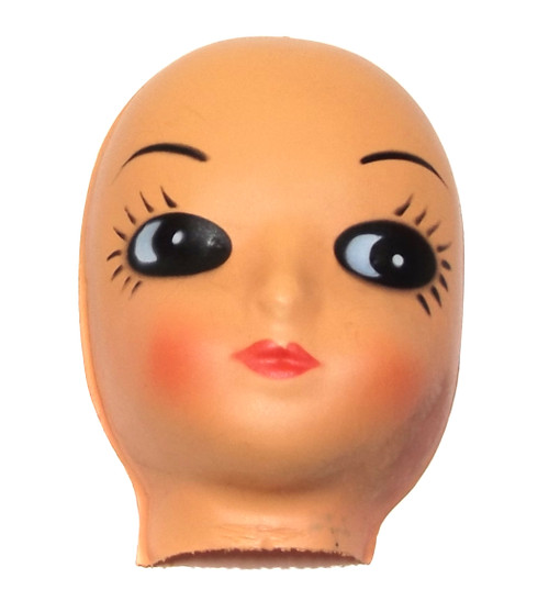 """Vintage NOS Celluloid Plastic Baby Doll Face Head with Long Eyelashes for Cloth Doll or Crafting - 3 1/2"""""""