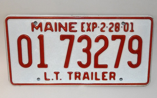 2001 Vintage Maine State L.T. Trailer License Plate - Tag #0173279