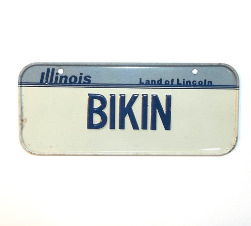 Vintage Illinois BIKIN Vanity Bicycle License Plate