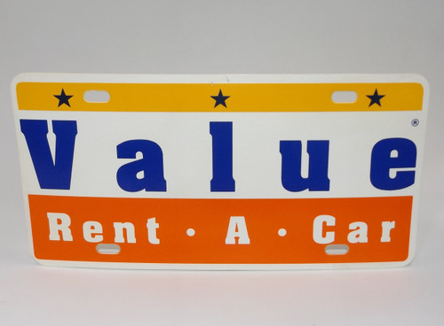 Vintage Value Rent-A-Car Plastic Advertising Vanity License Plate