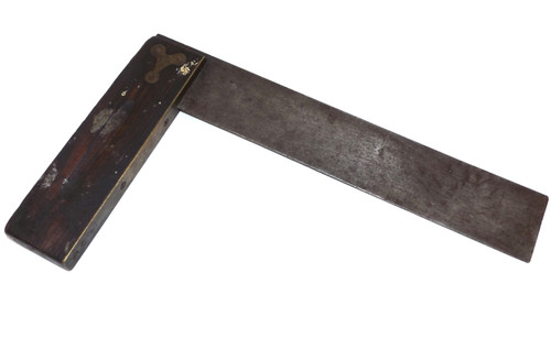 """Antique Rosewood & Brass Handled Unsigned Try Square Tool - 10 3/4"""" Size"""