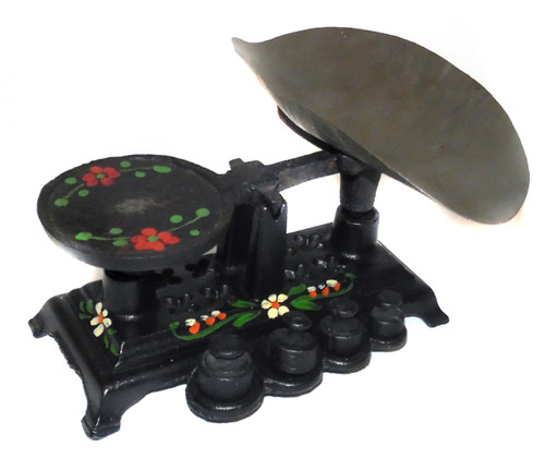 Vintage Cast Iron Miniature Balance Scale Hand-Painted w/ Tray & Weights