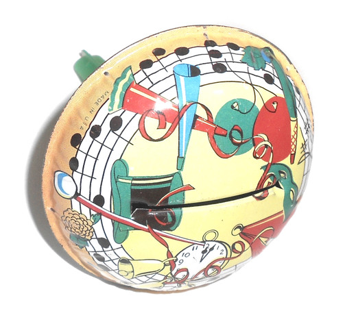 Retro New Year's Eve Themed Lithographed Tin Party Noise Maker Toy