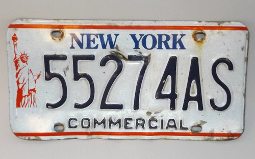 Vintage New York State Commercial License Plate - Tag #55274AS