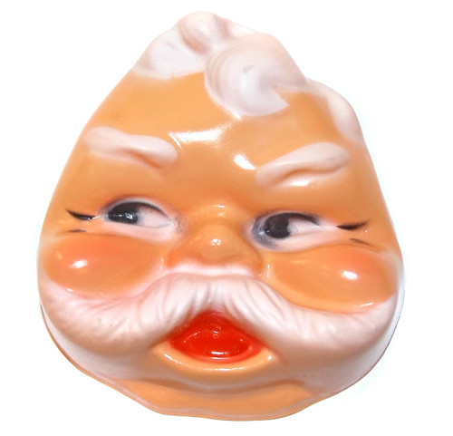 Vintage NOS Celluloid Plastic Santa Claus Christmas Baby Doll Face Head for Cloth Doll Crafting
