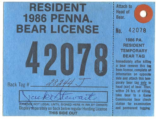 1986 PA Resident Bear Hunting License With Tag