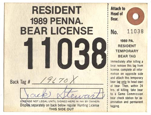 1989 PA Resident Bear Hunting License With Tag
