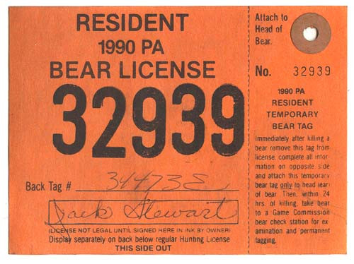 1990 PA Resident Bear Hunting License With Tag