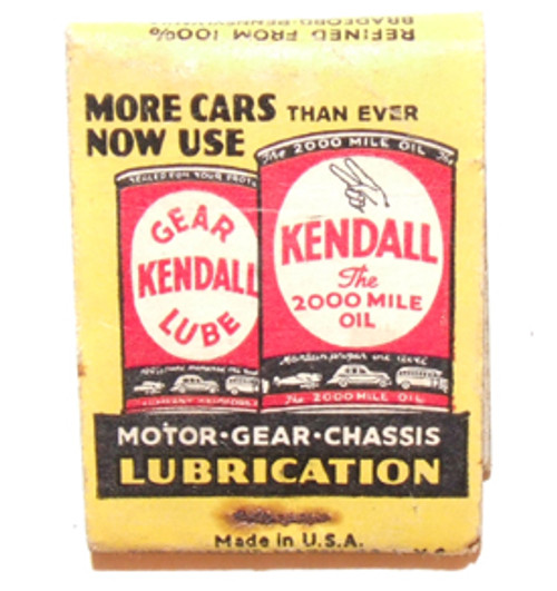 Kendall Motor Oil Advertising Matchbook