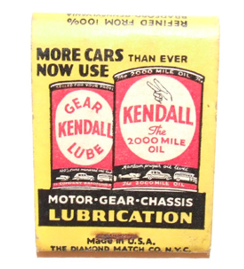 Vintage Kendall Dar Lube & Motor Oil Advertising Matchbook