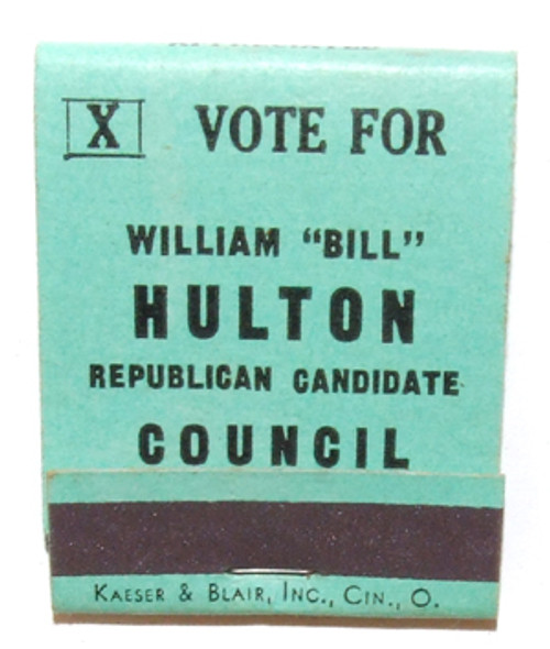 Vote for Bill Hulton Republican Council Candidate Political Matchbook Jefferson County, PA