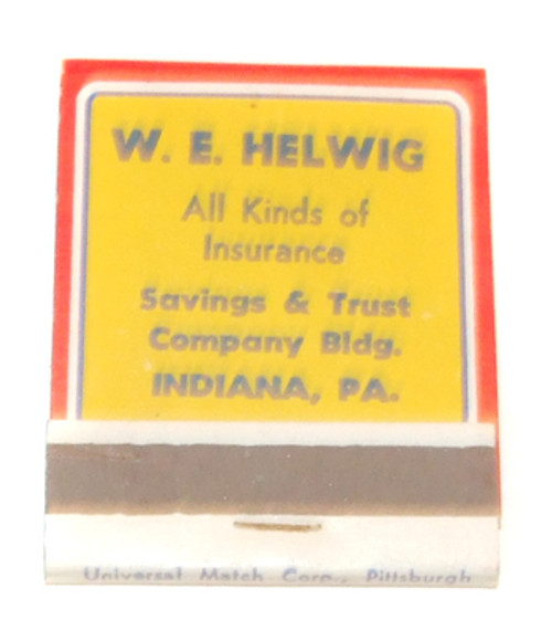 W.E. Helwig Insurance Agency Vintage Advertising Matchbook - Indiana, PA