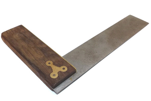 Antique Signed Wood and Brass Try Square Carpentry Tool