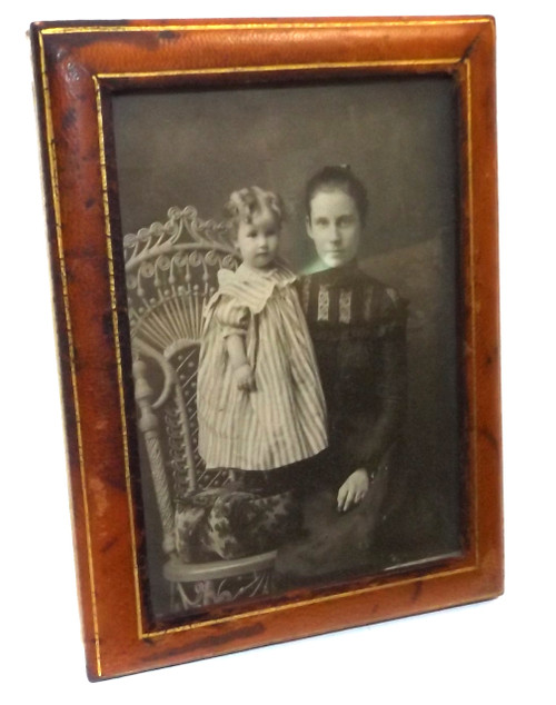 Antique Italian Leather Picture Frame w/ Young Mother & Child Photograph