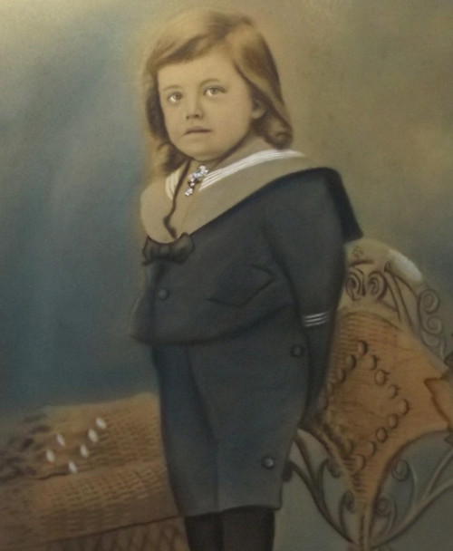 Antique Naive Folk Art Pastel Portrait of Young Boy Standing on Chair