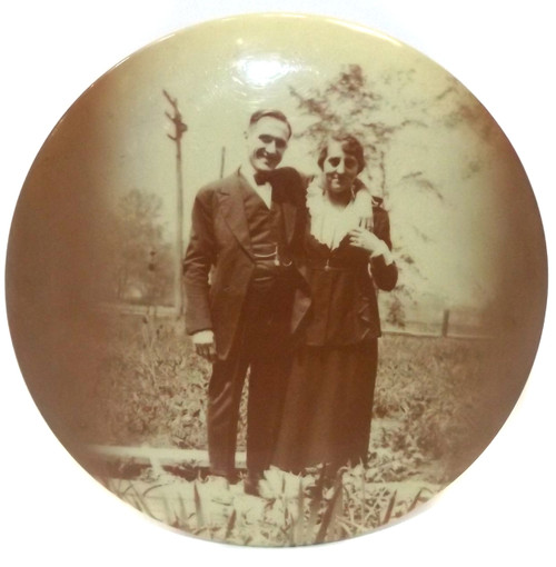 Antique Famous Medallion Studios Photograph of Happy Couple in Yard