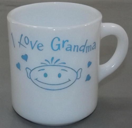 Vintage Retro I Love Grandma Milk Glass Coffee Cup Novelty Mug