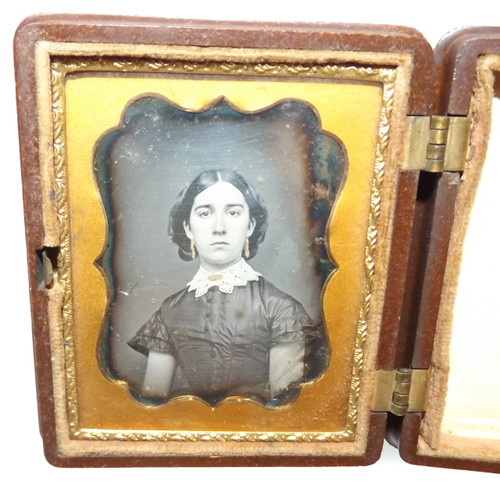 1/6 Plate Daguerreotype of Young Woman Gilt Tinted Jewelry in Nice Union Case