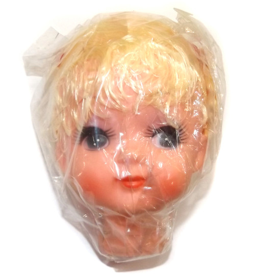 Vintage NOS Rubber Cloth Doll Baby Face Head Girl Pigtails Crafting Part