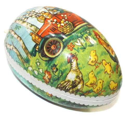Vintage Two Piece Paper Mache Easter Egg Gift Box with Bunnies in Car Graphics
