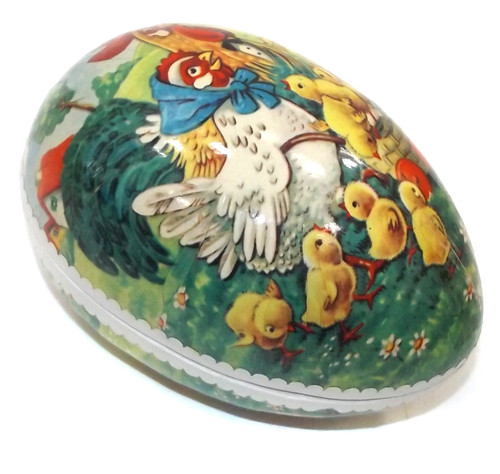 Vintage Two Piece Paper Mache Easter Egg Gift Box Rooster Hen Rooster & Chicks