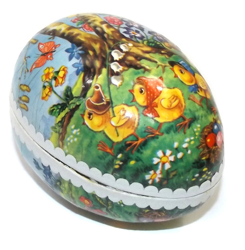 Vintage Two Piece Paper Mache Easter Egg Gift Box Baby Bunny & Chicks