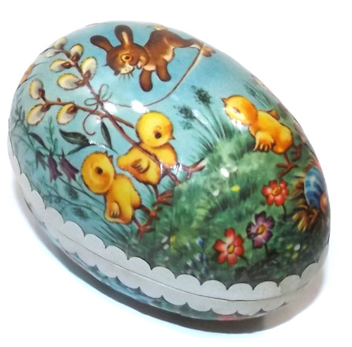Mini Vintage Two Piece Paper Mache Easter Egg Gift Box Baby Bunny & Chicks