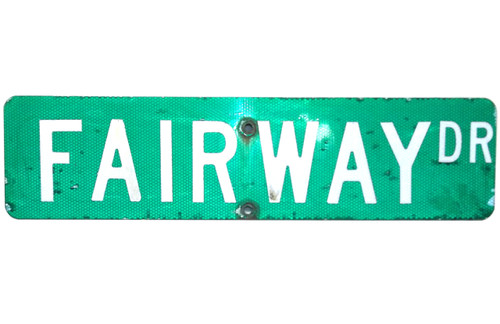 Vintage Retired Fairway Drive / Langdon Road Double Sided Highway Traffic Sign