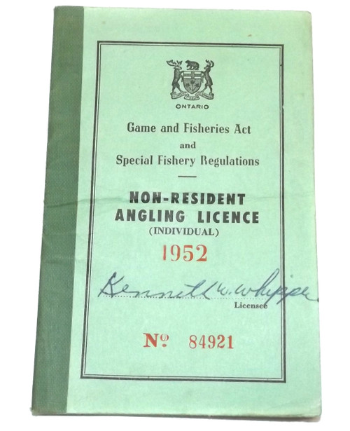 1952 Vintage Ontario Canada Non-Resident Angling Licence Fishing License Book